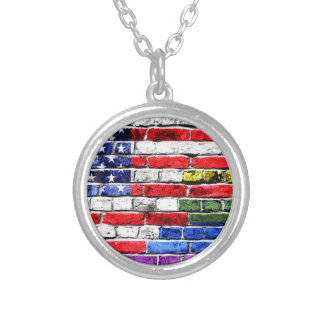 American Rainbow Flag Silver Plated Necklace