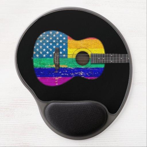 American Rainbow Gay Pride Acoustic Guitar, black Gel Mouse Mats