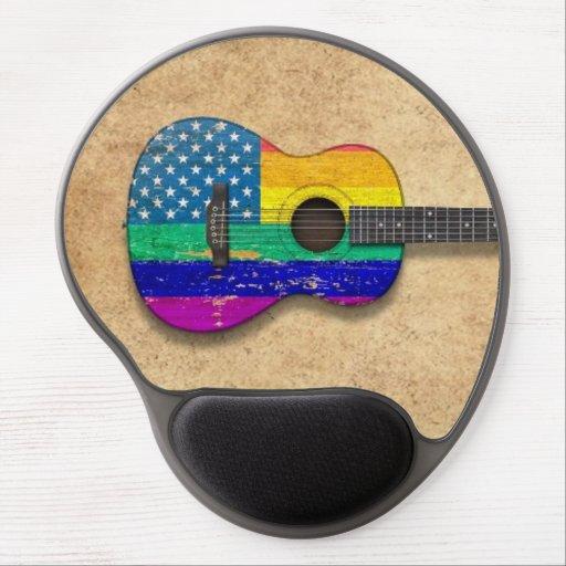 American Rainbow Gay Pride Acoustic Guitar Gel Mousepads