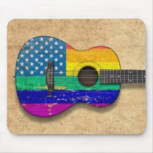 American Rainbow Gay Pride Acoustic Guitar Mousepads