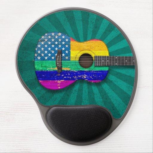 American Rainbow Gay Pride Acoustic Guitar, teal Gel Mousepads