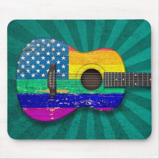 American Rainbow Gay Pride Acoustic Guitar, teal Mouse Pad
