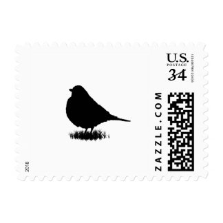 American red breasted Robin bird silhouette Postage Stamp
