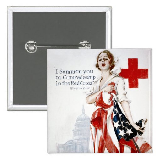 American Red Cross Vintage World War I Poster Pinback Button