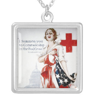 American Red Cross Vintage World War I Poster Square Pendant Necklace