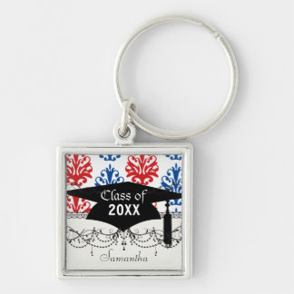 american red white and blue damask graduation key chains