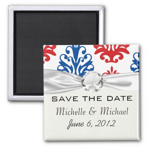 american red white and blue damask magnets
