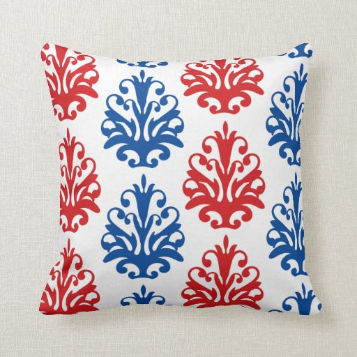 american red white and blue damask pillows