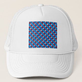 American Red White Blue Wooden Lattice Look Trucker Hat
