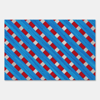American Red White Blue Wooden Lattice Look Lawn Signs