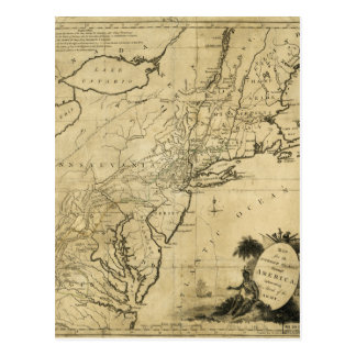 American Revolution Map by Thomas Conder (c 1780) Postcard