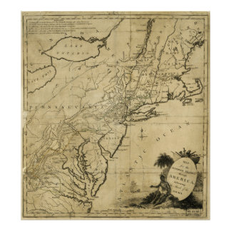 American Revolution Map by Thomas Conder (c 1780) Poster