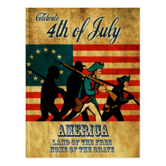 American revolution soldier marching flag postcard
