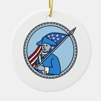 American Revolutionary Soldier Flag Circle Mono Li Ceramic Ornament