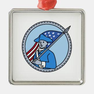 American Revolutionary Soldier Flag Circle Mono Li Metal Ornament