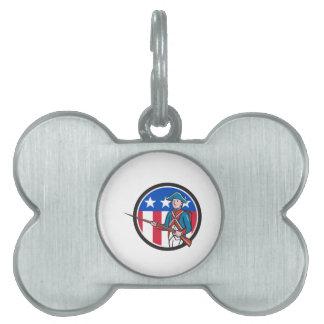 American Revolutionary Soldier USA Flag Circle Car Pet ID Tag