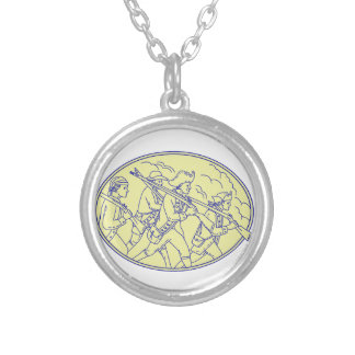 American Revolutionary Soldiers Marching Oval Mono Silver Plated Necklace