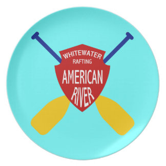 American River Whitewater Rafting Party Plates