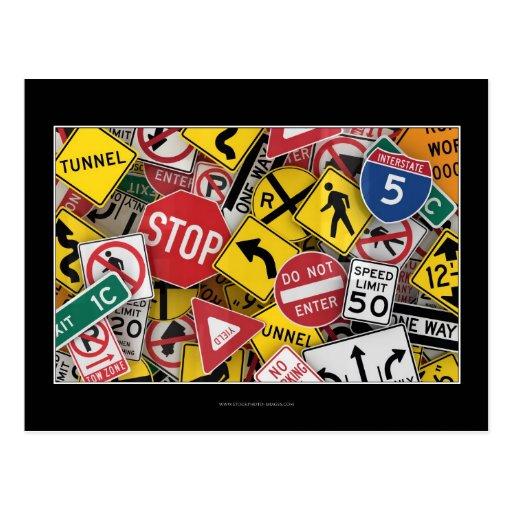American road signs postcard