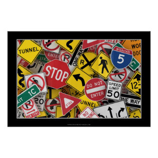 American road signs poster