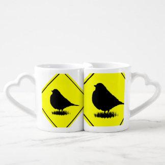 American Robin Bird Silhouette Crossing Sign Couples Mug