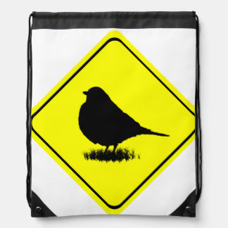 American Robin Bird Silhouette Crossing Sign Drawstring Backpack