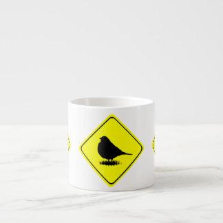 American Robin Bird Silhouette Crossing Sign Espresso Mugs