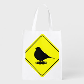 American Robin Bird Silhouette Crossing Sign Grocery Bag