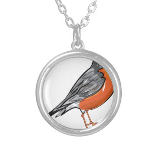 American Robin bird Vector illustration Round Pendant Necklace