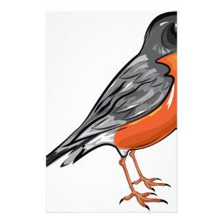 American Robin bird Vector illustration Stationery