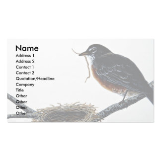 American robin building a nest business card