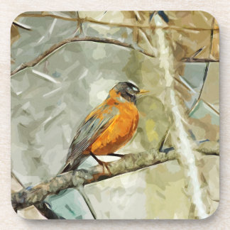 American Robin Hunting Abstract Impressionism Drink Coaster