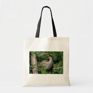 American Robin landing on nest Canvas Bag