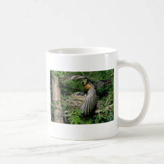 American Robin landing on nest Coffee Mug