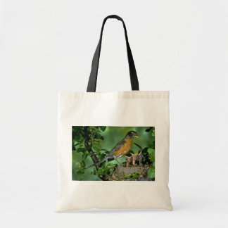 American Robin with young Canvas Bags