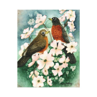 """""""American Robins on Pink Dogwood"""" Wrapped Canvas Canvas Print"""