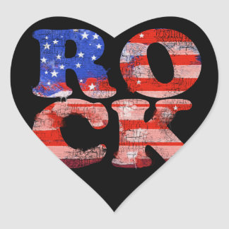 american rock music word flag heart stickers
