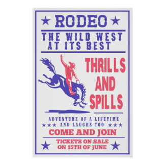 american rodeo cowboy bucking bronco poster