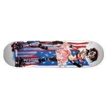 artsprojekt, roller, derby, rollerderby, girl, usa, american, america, punch, kick, kickass, Skateboard com design gráfico personalizado
