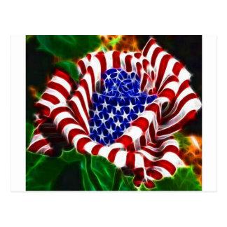 American Rose Flag Postcard