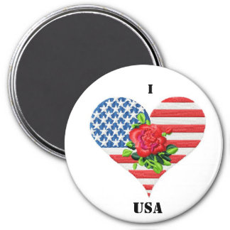 american rose heart 3 inch round magnet
