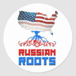 American Russian Roots Classic Round Sticker