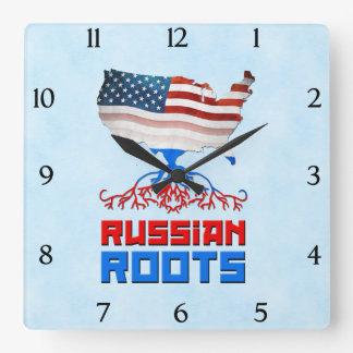 American Russian Roots Square Wall Clock