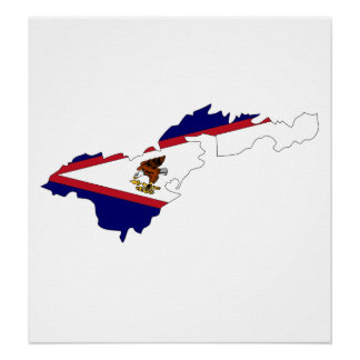 American Samoa Flag Map full size Poster