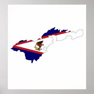 American Samoa Flag Map full size Poster