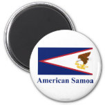American Samoa Flag with Name 2 Inch Round Magnet