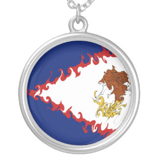 American Samoa Gnarly Flag Silver Plated Necklace