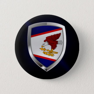 American Samoa Metallic Emblem Button