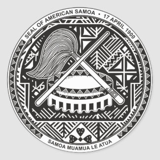 American Samoa Official Coat Of Arms Heraldry Symb Classic Round Sticker