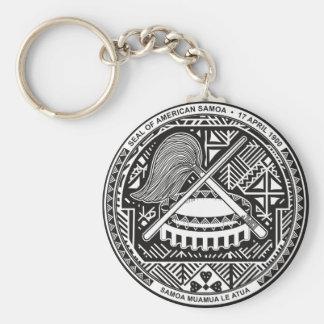 american samoa seal basic round button keychain